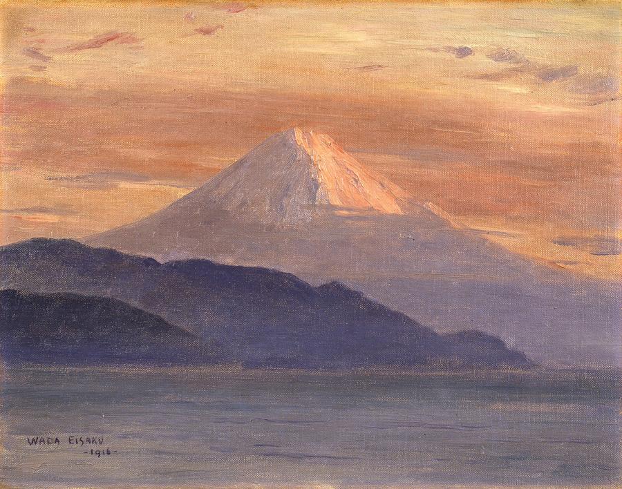 和田英作 「紅富士」 画像  静岡県側から見た富士山を描いた作品で、手前に見えるのは愛鷹山である